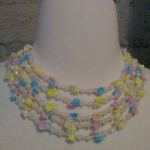Vintage Plastic Floral Beaded Necklace